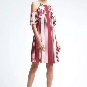 Banana Republic Striped Cold Shoulder Dress Red 10